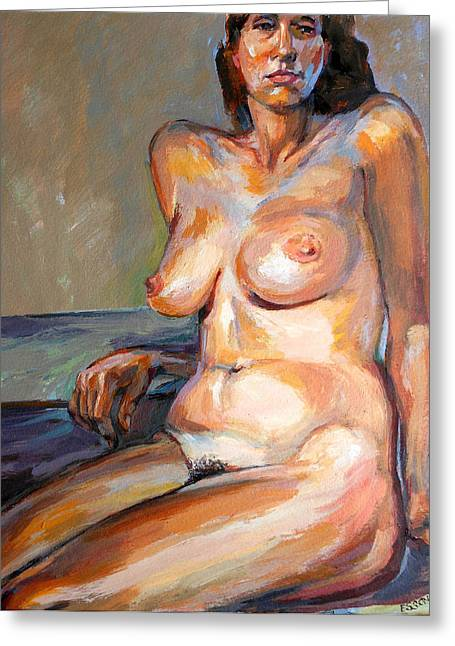 Woman Nude Greeting Card by Stan Esson