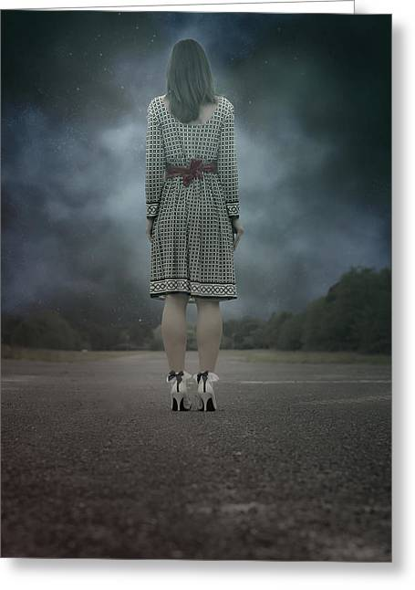Woman On Street Greeting Card by Joana Kruse