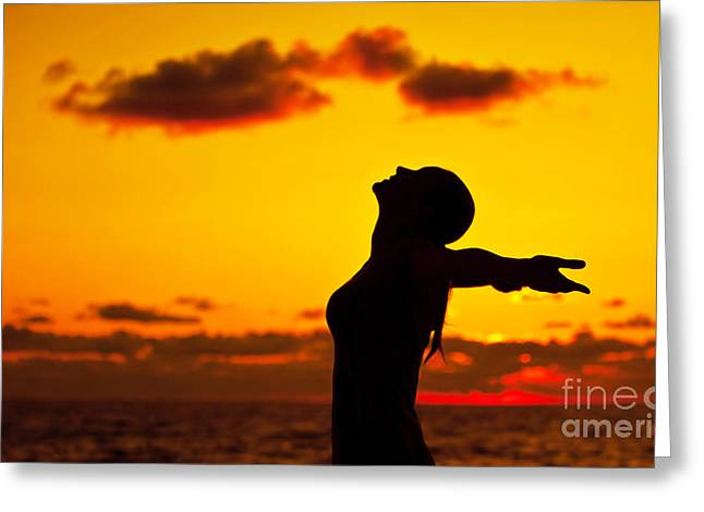 Woman Silhouette Over Sunset Greeting Card by Anna Om
