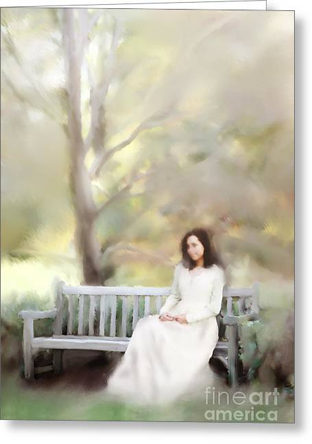 Woman Sitting On Park Bench Greeting Card