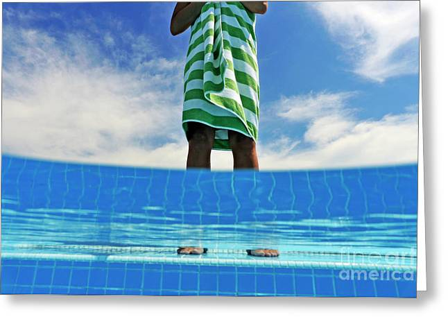 Woman Standing On Swimming Pool Ledge Greeting Card by Sami Sarkis