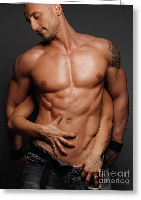 Woman Touching Muscular Man's Body Greeting Card by Oleksiy Maksymenko