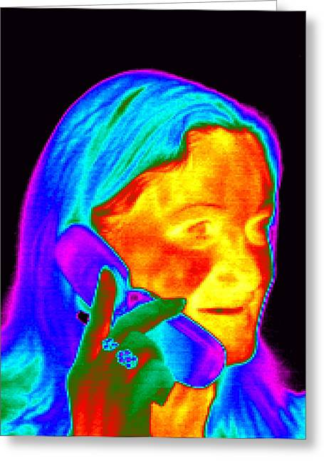 Woman Using A Mobile Phone, Thermogram Greeting Card by Dr. Arthur Tucker