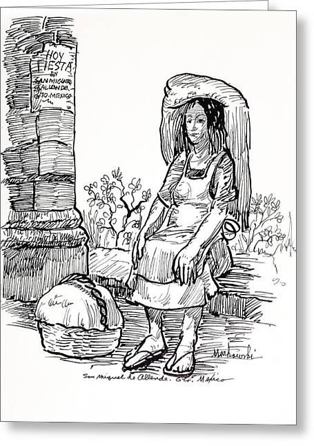 Woman Vendor Greeting Card