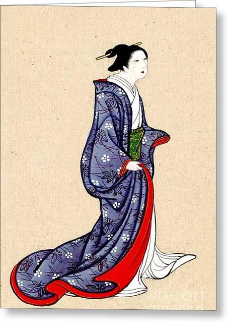 Woman Wearing Robe And Kimono 1878 Greeting Card
