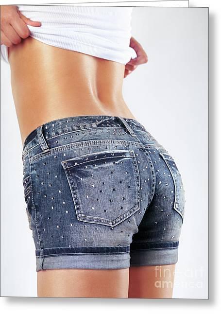 Woman Wearing Sexy Shorts Greeting Card