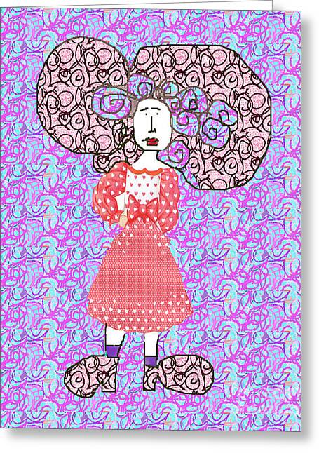 Woman With Crazy Hair Greeting Card
