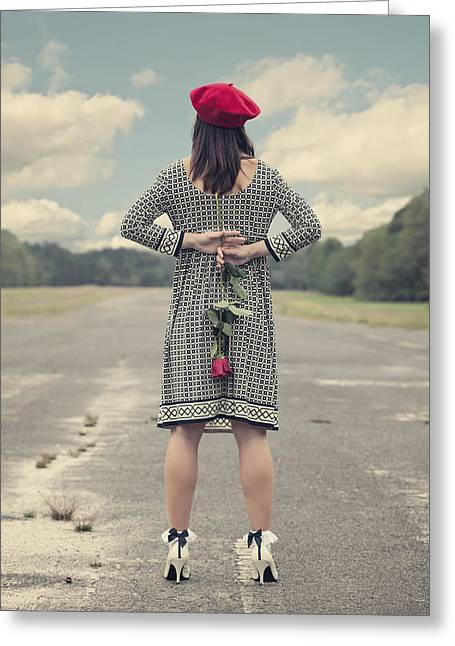 Woman With Red Rose Greeting Card by Joana Kruse