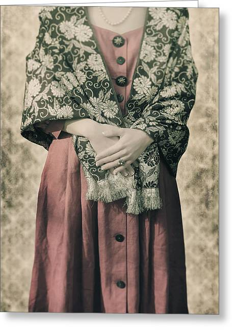 Woman With Shawl Greeting Card by Joana Kruse