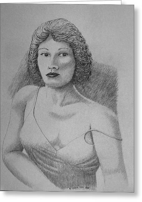 Greeting Card featuring the drawing Woman With Strap Off Shoulder by Daniel Reed