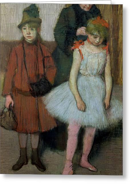 Woman With Two Little Girls Greeting Card by Edgar Degas