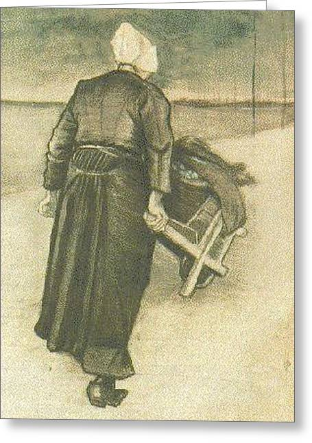 Woman With Wheelbarrow Greeting Card by Vincent Van Gogh