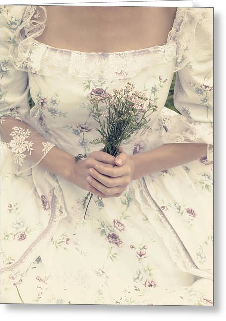 Woman With Wild Flowers Greeting Card by Joana Kruse