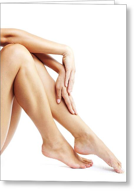 Woman's Legs Isolated On White Background Greeting Card
