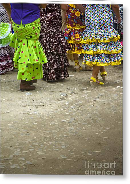 Women And Flamenco Dresses Greeting Card by Perry Van Munster