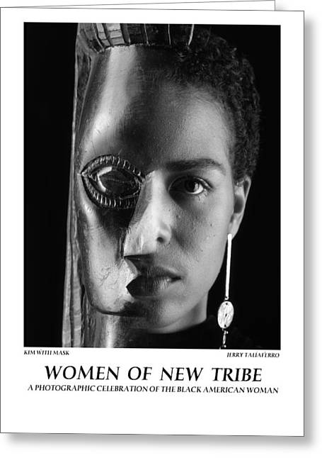Women Of A New Tribe - Kim With Mask Greeting Card by Jerry Taliaferro