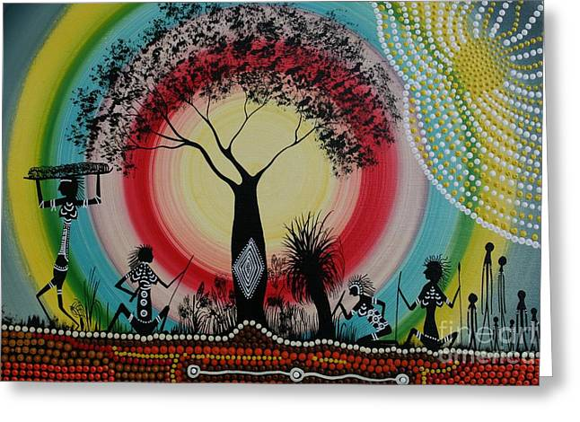 Women Under The Wisdom Tree Greeting Card by David Dunn