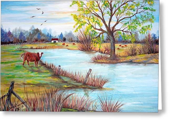 Wonderful Farm Home Greeting Card by Janna Columbus