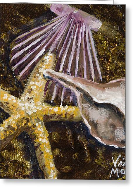 Wonderful Shells And Starfish With Gold Leaf By Vic Mastis Greeting Card