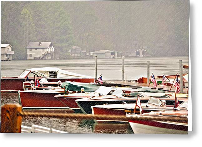 Wood Boats In The Rain Greeting Card