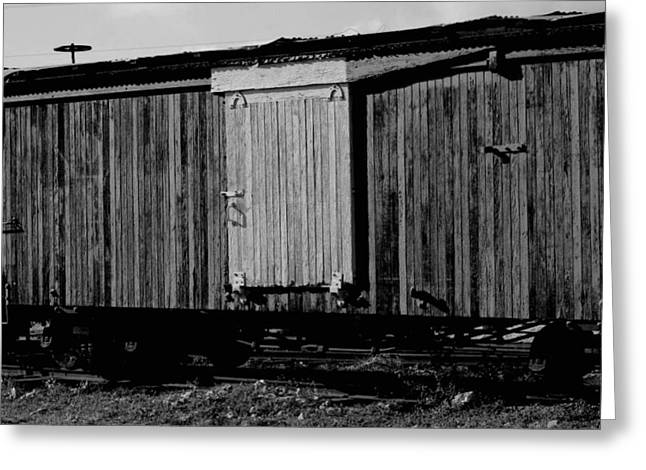 Wood Boxcar Greeting Card by Elizabeth  Doran