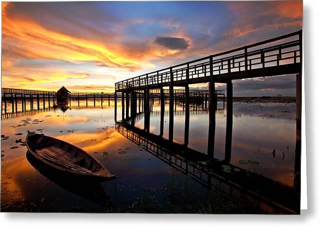 Wood Bridge In Sunset Thailand Greeting Card by Arthit Somsakul