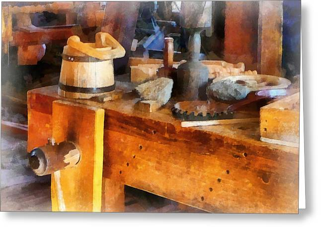 Wood Shop With Wooden Bucket Greeting Card by Susan Savad