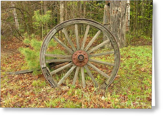 Greeting Card featuring the photograph Wood Spoked Wheel by Sherman Perry