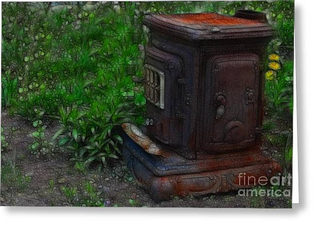 Wood Stove Greeting Card by Marjorie Imbeau