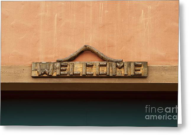 Wood Welcome Sign Greeting Card by Blink Images