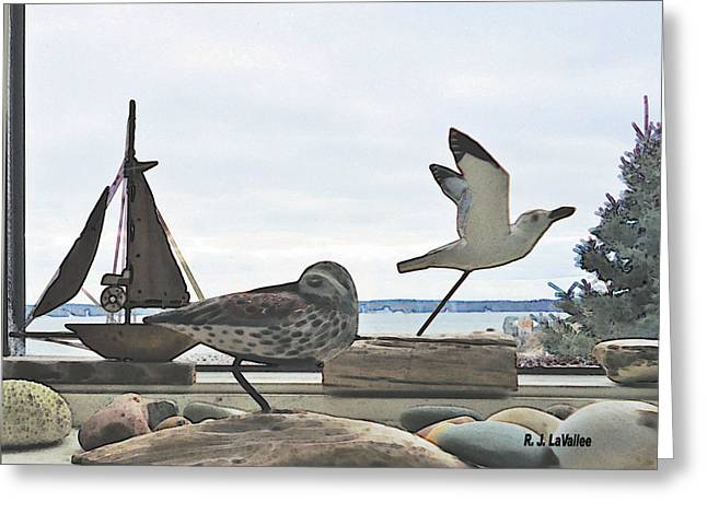 Woodcarvings In A Maine Window Greeting Card