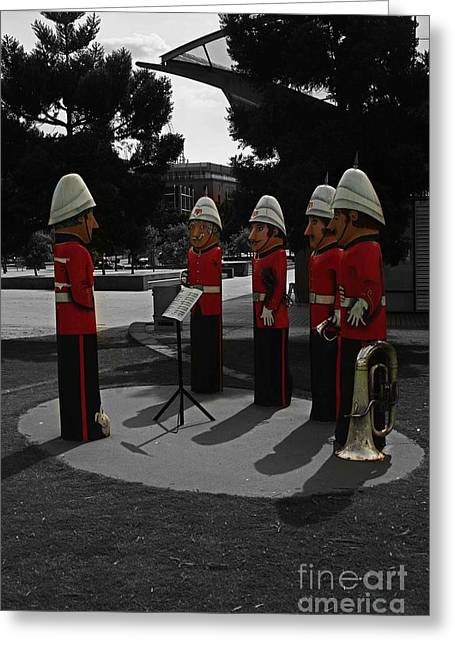Greeting Card featuring the photograph Wooden Bandsmen by Blair Stuart