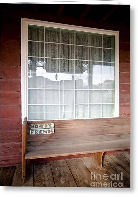 Wooden Bench On Rustic Porch Greeting Card