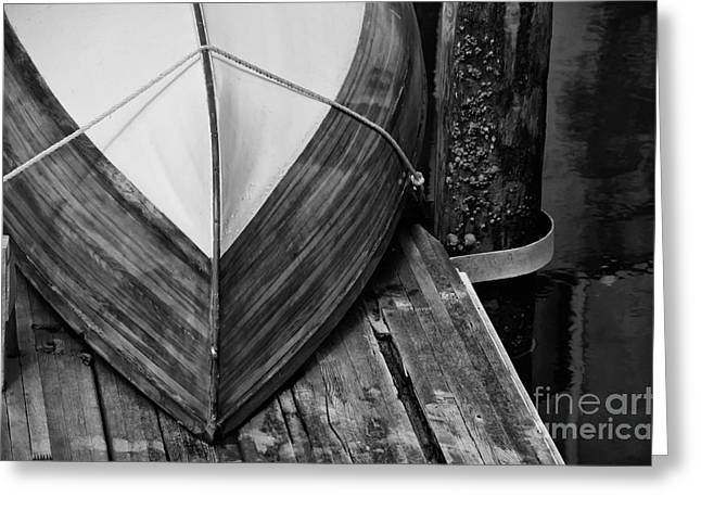 Wooden Boat On The Dock Greeting Card by Wilma  Birdwell