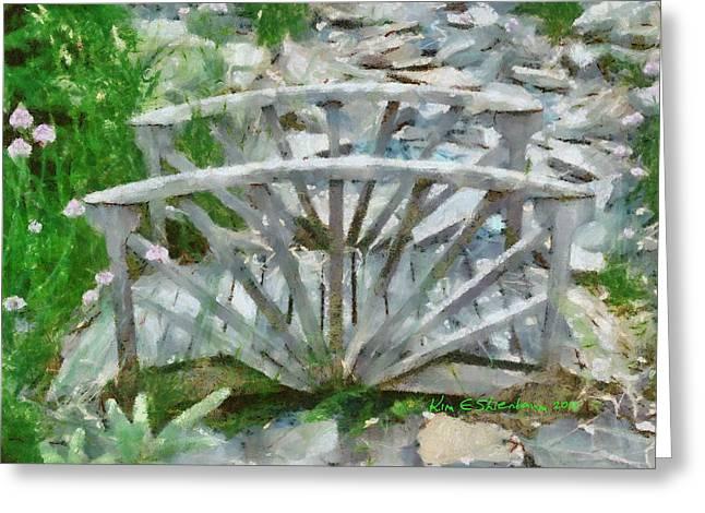 Wooden Bridge On Stone Creek Greeting Card by Kim Ezra Shienbaum