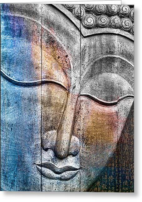 Wooden Buddha Greeting Card by Carol Leigh