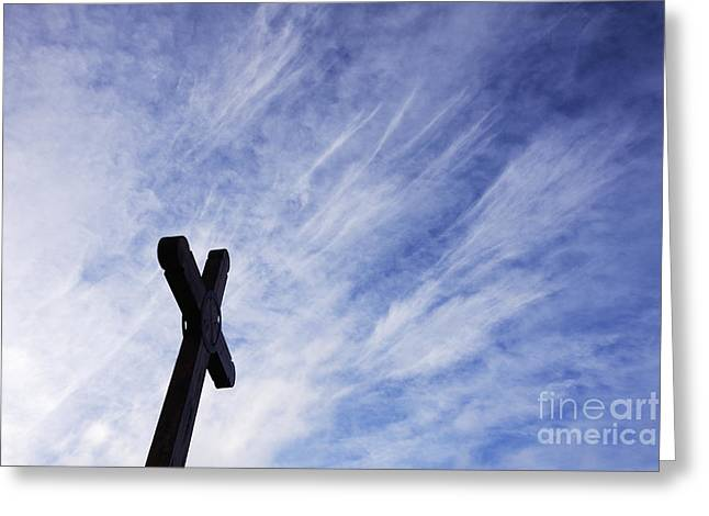 Wooden Cross Greeting Card by Jeremy Woodhouse