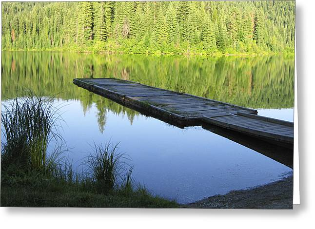 Wooden Dock On Lake Greeting Card by Anne Mott