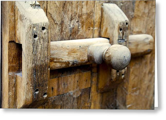 Wooden Door Bolt Detail Greeting Card by Kantilal Patel