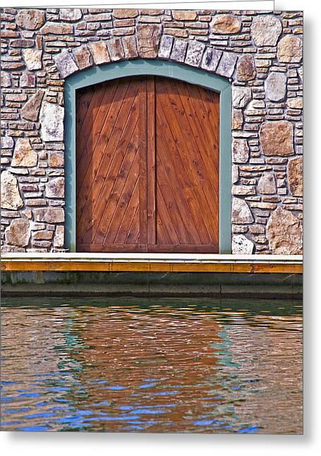 Wooden Door Greeting Card by Susan Leggett