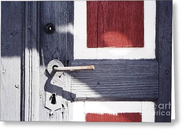 Greeting Card featuring the photograph Wooden Doors With Handle In Blue by Agnieszka Kubica