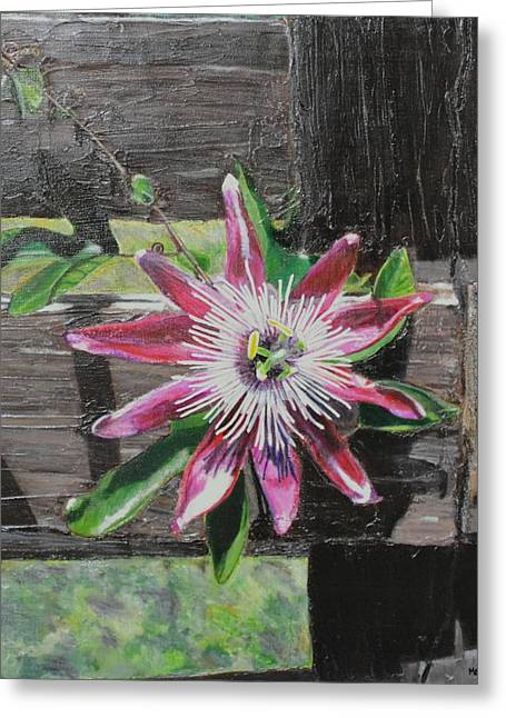 Wooden Fence Greeting Card by Melissa Torres