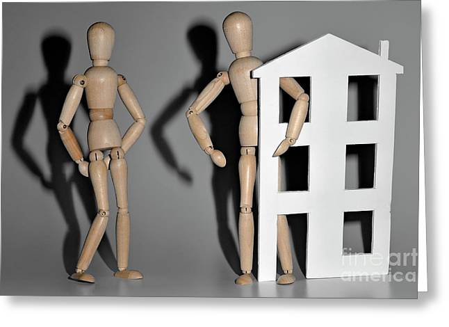 Wooden Mannequin Couple With A House Shape Greeting Card by Sami Sarkis