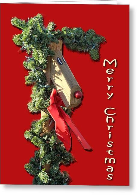 Wooden Raindeer Greeting Card by Linda Phelps