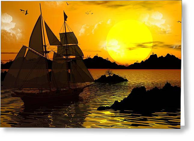 Wooden Ships Greeting Card by Robert Orinski