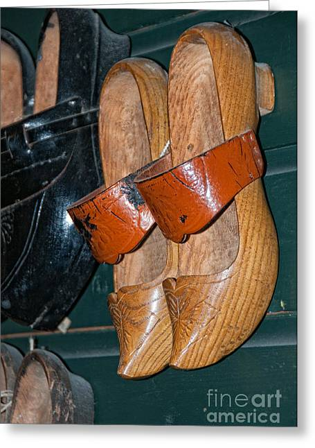 Wooden Shoe Sandals Greeting Card by Carol Ailles