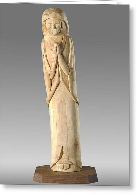 Wooden Statue Carving Greeting Card by Noah Katz