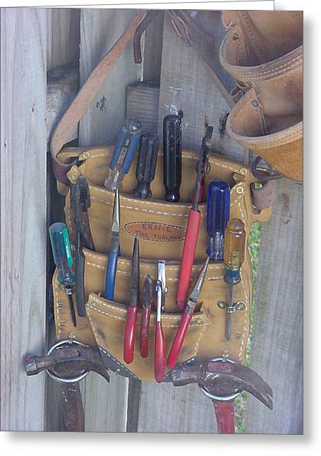 Wooden Tool Belt Greeting Card by Val Oconnor