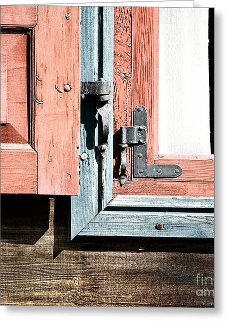 Greeting Card featuring the photograph Wooden Windows Shutters In Coral by Agnieszka Kubica