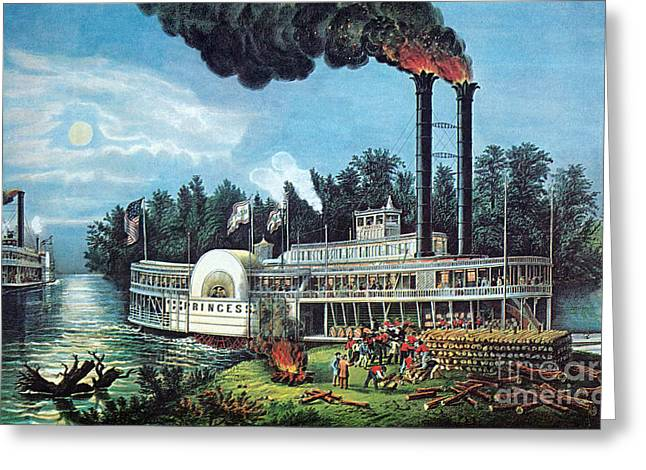 Wooding Up On The Mississippi 1863 Greeting Card by Photo Researchers